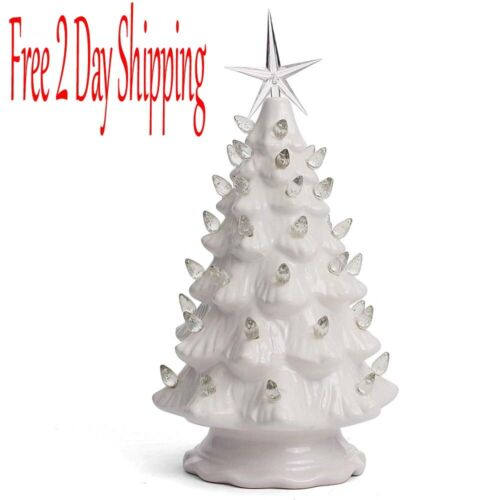 "Ceramic Christmas Tree Tabletop Christmas Tree Lights 11.5"" White Lights"