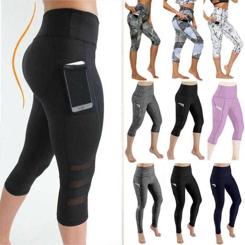 Women High Waist Yoga Pants Capri Sports Fitness Running 3/4 Leggings Gym Pocket