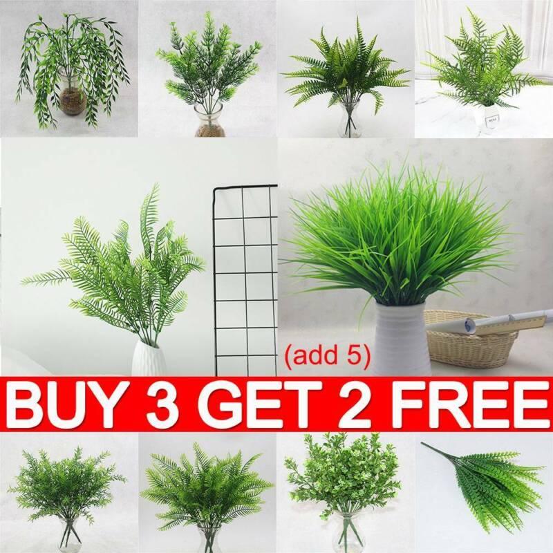 Home Decoration - Artificial Plants Fake Leaf Foliage Bush Home Office Garden Wedding Decor YY UK