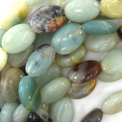14mm multicolor blue amazonite flat oval beads 15