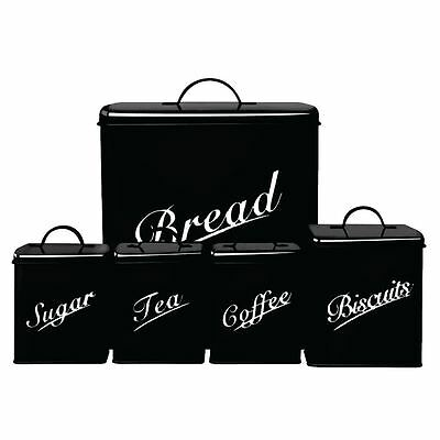 CANISTER SET 5 Piece Black Sugar Tea Coffee Biscuits Bread Kitchen Storage Set