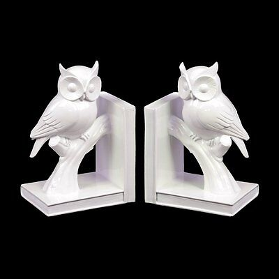 Urban Trends 73110-AST Ceramic Owl on Tree Branch Bookend (Set of 2)