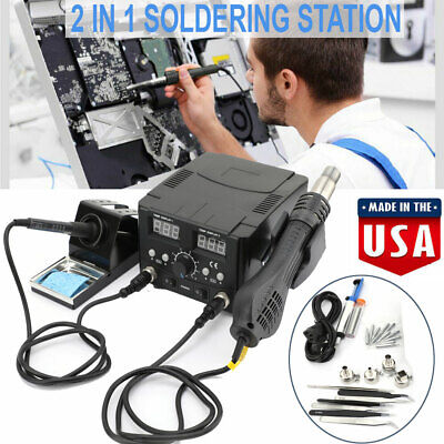 2 In 1 Hot Air Gun Kit Rework Station Smd Iron Soldering Solder Holder Voltage