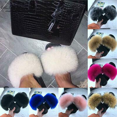 Fluffy Women  Ladies  Comfy Slippers Sliders Flip Shoes Flat  Flop Faux Fur