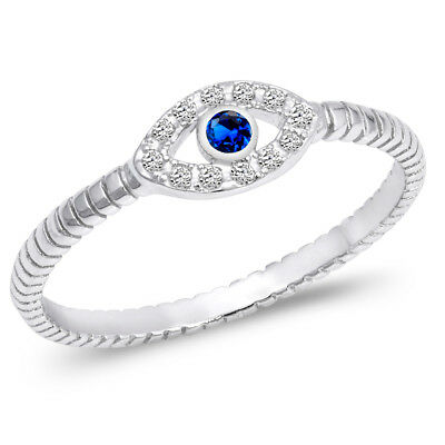 Evil Eye Blue Sapphire CZ Polished Ring .925 Sterling Silver Band Sizes 3-13 NEW - Eye Rings