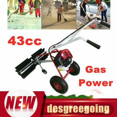 43cc Gas Power Walk Behind Snow Sweeper Broom Driveway Walkway Cleaning Tool