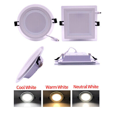 New Dimmable 6W/9W/12W/18W LED Recessed Ceiling Panel Spot Light Lamp Glass Edge