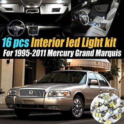 16Pc White Car Interior LED Light Bulb Kit for 1995-2011 Mercury Grand Marquis