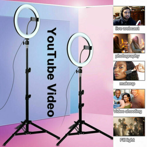 LED Ring Light Light Stand Kit Dimmable Photo Studio Selfie Phone Live Lamp`