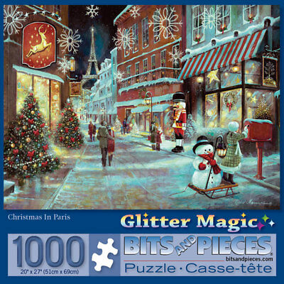 Christmas 1000 Piece Puzzle - Bits and Pieces 1000 Piece Glitter Puzzle-Christmas In Paris-by Ruane Manning