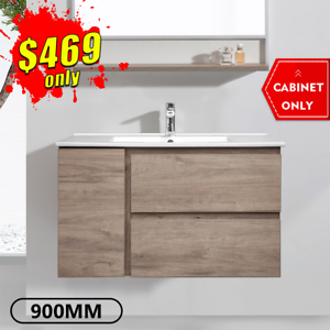 Bathroom Vanity 900mm Wall Hung Cabinet Finger Pull Albany *NEW*