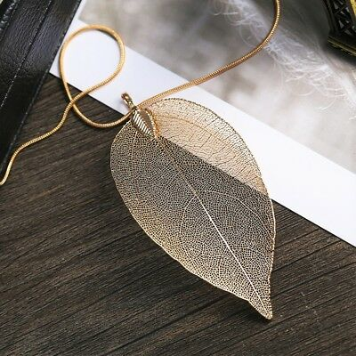 Womens Gold Tone Real Leaf Pendant Filigree Necklace - Long 24