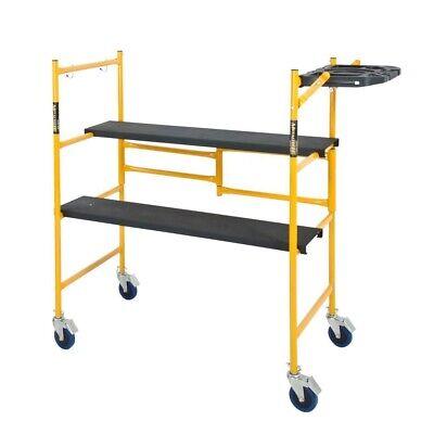 Mini Rolling Scaffold Indoor Steel Work Platform 4x4x2 Ft 500 Lb Capacity W Tool