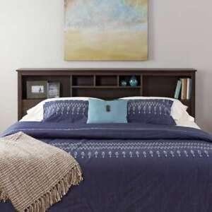 King Size Bookcase Headboard Bed Bedroom Storage Espresso Wood Furniture 75 Inch