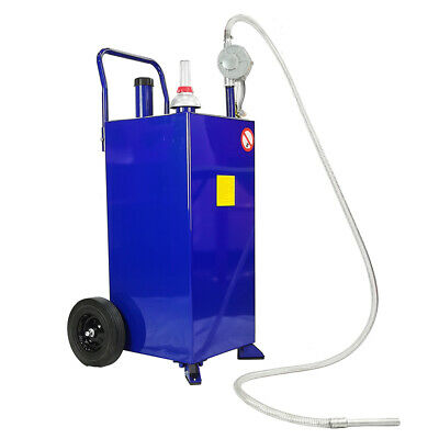 30 Gallon Gas Caddy Tank Storage Drum Steel Gasoline Diesel Fuel Transfer Blue