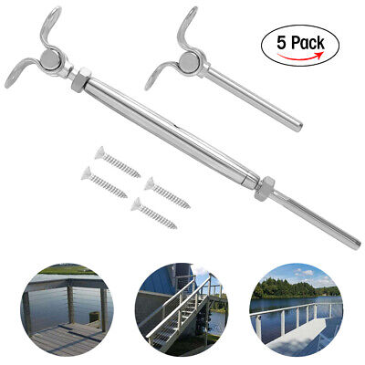 5 Packs Stainless Steel Turnbuckle Tensioner Deck Toggle Set 316 Cable Railing