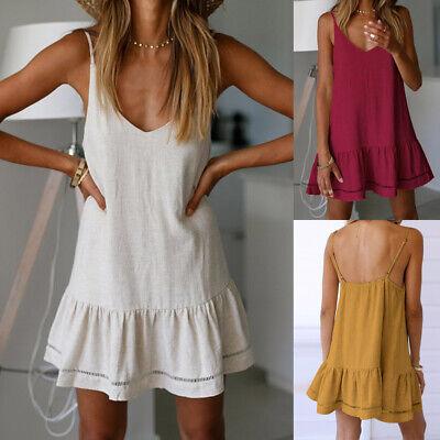 Baumwolle Mini-kleid (Damen Baumwolle Leinen Sommerkleid Strandkleid Minikleid Lose Trägerkleid Tunika)