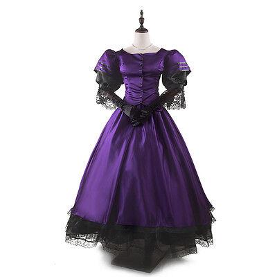Viktorianisch Renaissance Steampunk Kleid Antiquität Gotisch Ballkleid (Lila Renaissance Kleid)