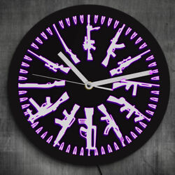 Gun and Bullets LED Neon Sign Wall Clock Vintage Different Guns Lighting Watch