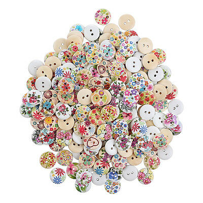 """100pcs 2-Hole 0.6"""" Flower Buttons Mixed Lot Sewing Scrapbooking Craft DIY Supply"""