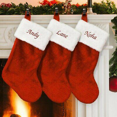 Personalised Embroidered Fleece Super Jumbo Christmas Stocking with name 57cm