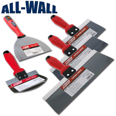 Wal-board Blue Steel Drywall Taping Knife Set Soft Grip - 4 Knives Mud Scoop