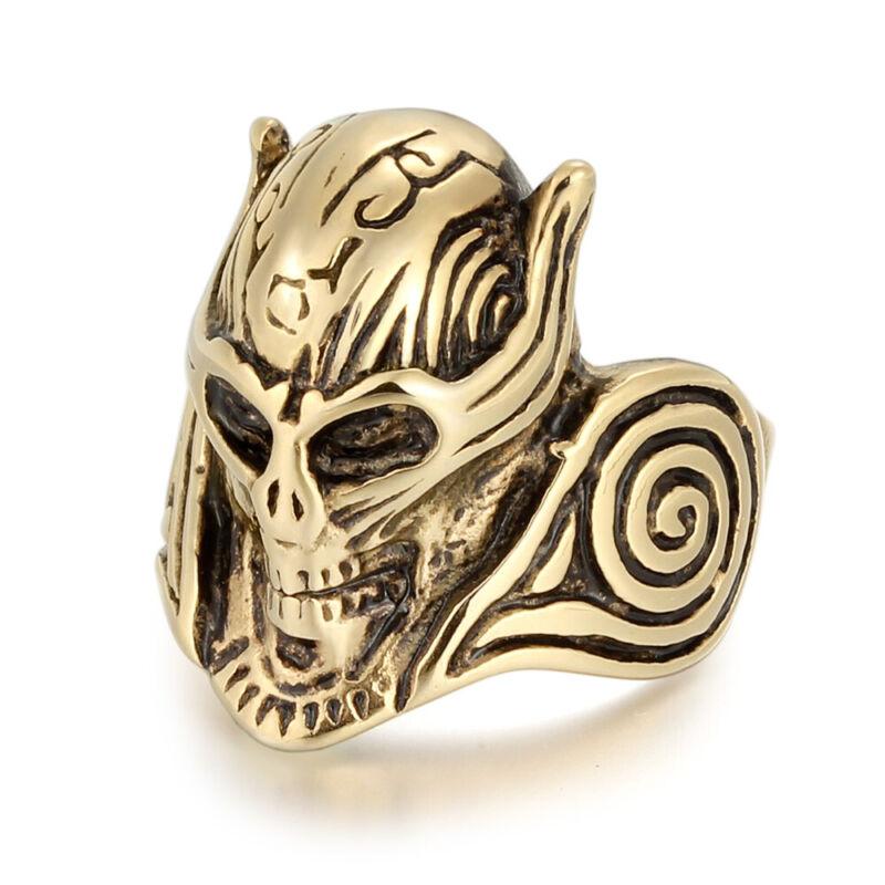 5Pcs/Lot Stainless Steel Men Boy Plated Gold Skull Biker Rings Skeleton Jewelry