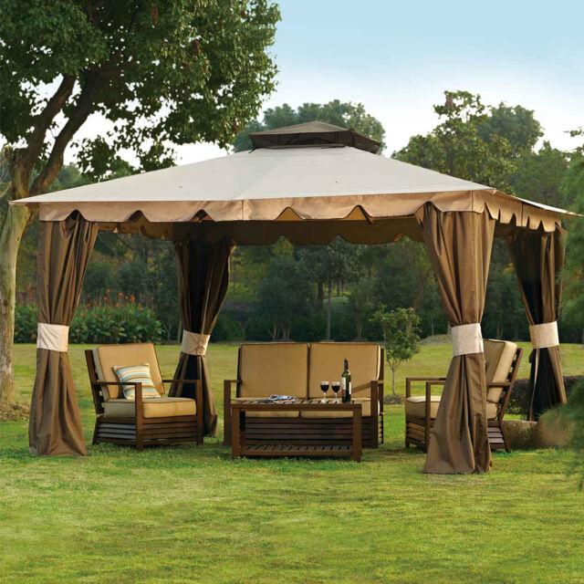 10 x 12 H&ton Gazebo - Outdoor Patio Canopy Mosquito Netting u0026 Privacy Panels & 10 X 12 Hampton Gazebo Canopy W Mosquito Netting Privacy Panels | eBay