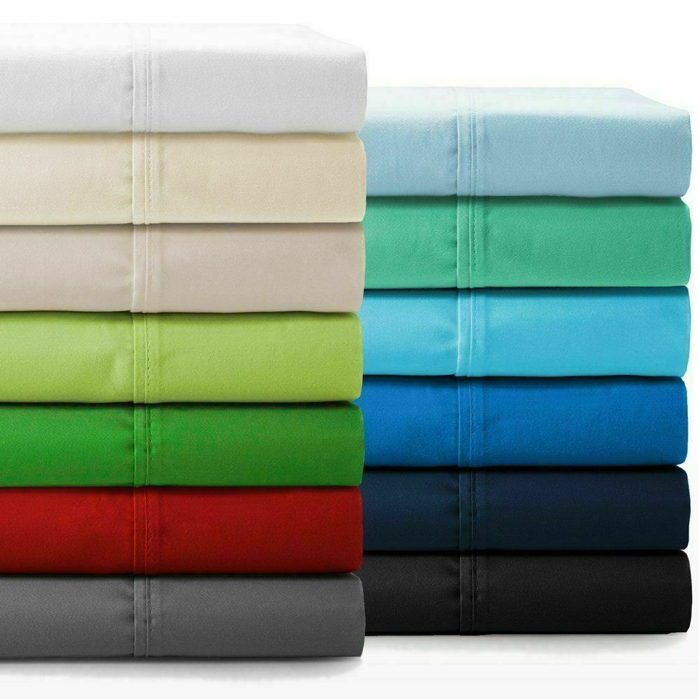 100% Cotton Sheet Set Flat & Fitted Sheets Pillowcases High