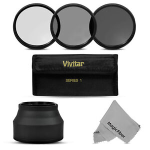 Vivitar 62MM Multi Coated UV CPL ND8 Filter Kit + Collapsible Rubber Lens Hood