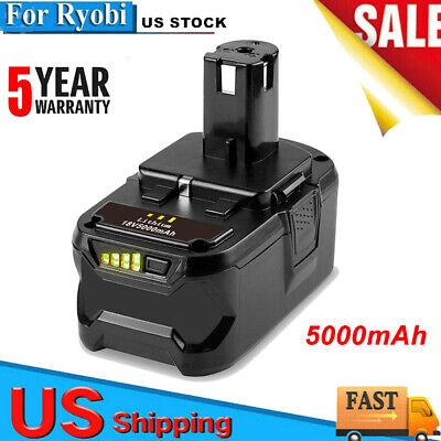 18v 5.0ah Lithium-ion Battery For Ryobi One Rb18l25 Rb18l50 P108 P107 P104 P780
