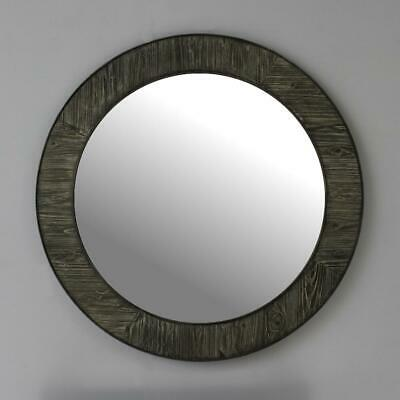 """35"""" Rustic Solid Fir Mirror In Grey Driftwood(Round)"""