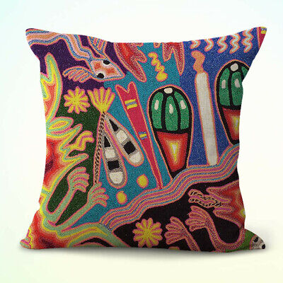 US Seller- Mexican Huichol folk art cushion cover decor pillow case cheap (Cheap Pillow)