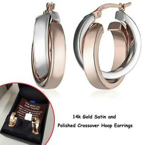 NEW 14k Gold Satin and Polished Crossover Hoop Earrings Condtion: New, Rose and white gold