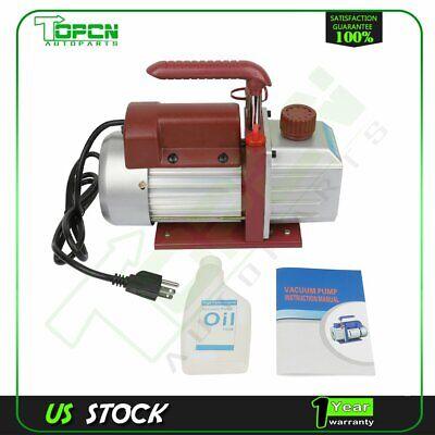 1 Stage 4.5 Cfm 13 Hp Red Rotary Vane Deep Vacuum Pump Hvac Ac Air Tool Kit