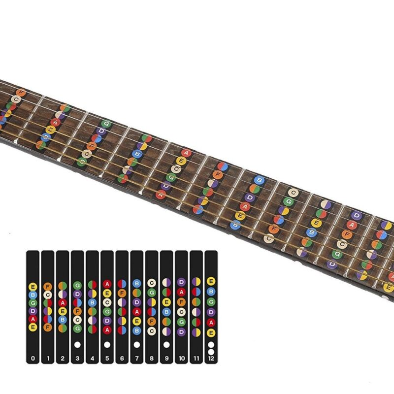 acoustic electric guitar stickers bass fretboard note labels frets map universal 862595145715 ebay. Black Bedroom Furniture Sets. Home Design Ideas