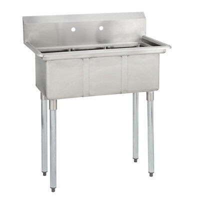 3 Three Compartment Commercial Stainless Steel Sink 35 X 19.8