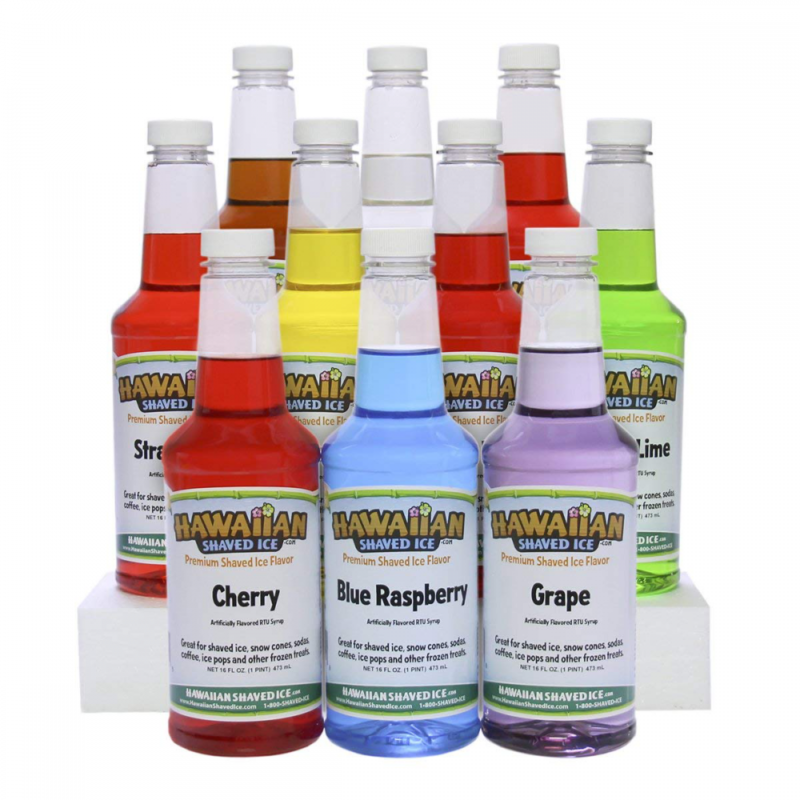 Hawaiian Shaved Ice 10 Flavor Syrup Package | Pack Includes 10 Snow Cone Flavors