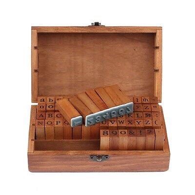 70Pcs/set Rubber Stamps Alphabet Letters Number Vintage Wooden Box Case Craft US