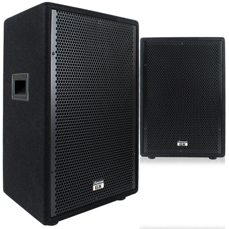 2x GX12 12 Inch Passive Speakers Venue Stage Show Theatre 1600W UK Seller