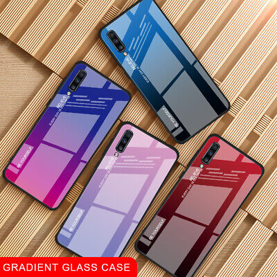For Samsung J4 J6 S10 Plus S8 S9 Note 8/9 Gradient Glass Phone Case Glossy Cover