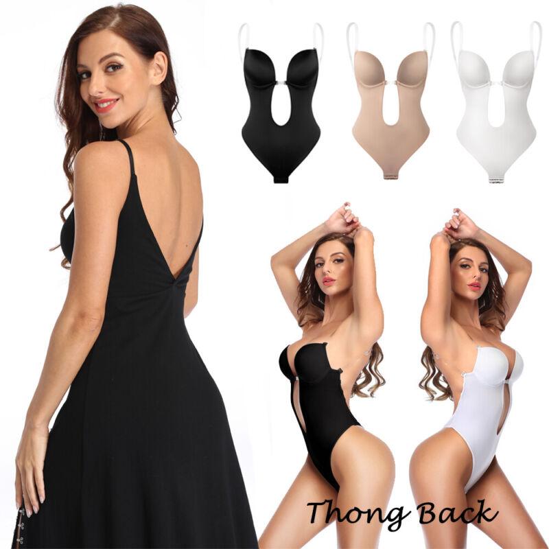 Damen Sexy U Plunge Rückenfreie Formende Bodys V-Ausschnitt mit BH Miederbody DE