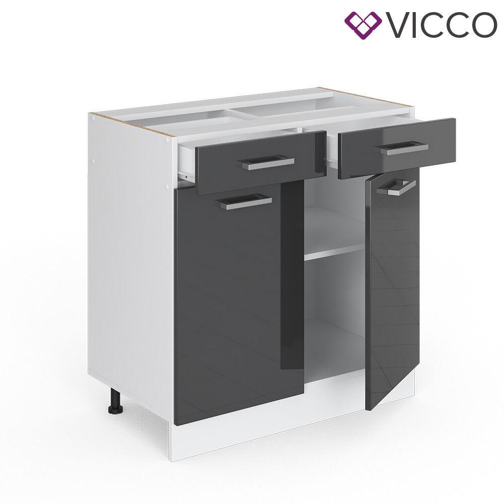VICCO Küchenschrank Hängeschrank Unterschrank Küchenzeile R-Line Schubunterschrank 80 cm anthrazit