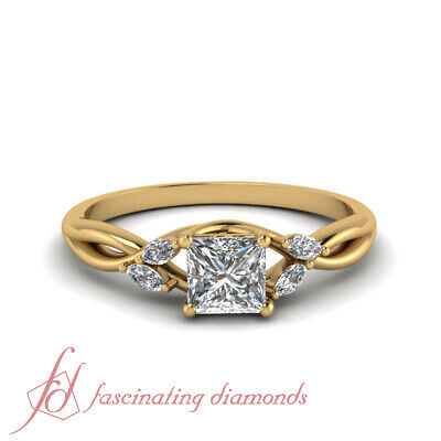 1 Carat Princess Cut Diamond Petal Style Engagement Ring In 18K Yellow Gold GIA