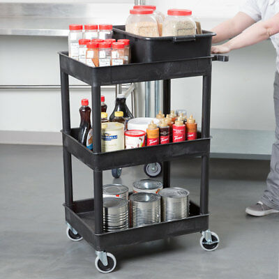 Luxor 300-lbs Capacity 3 Tub Plastic Utility Cart In Black Stc111-b New