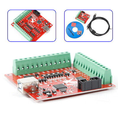 Cnc Mach3 Breakout Board 4-axis Interface Driver Motion Controller Usb 24v New