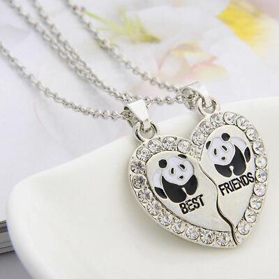 BEST FRIEND Panda Heart Silver Crystal Tone BFF 2 Pendants Necklace