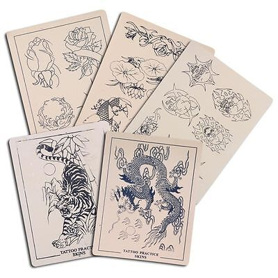 """5pcs Assorted Tattoo Practice Skin For Needle Machine Supply Mix Sheets 8x6"""""""