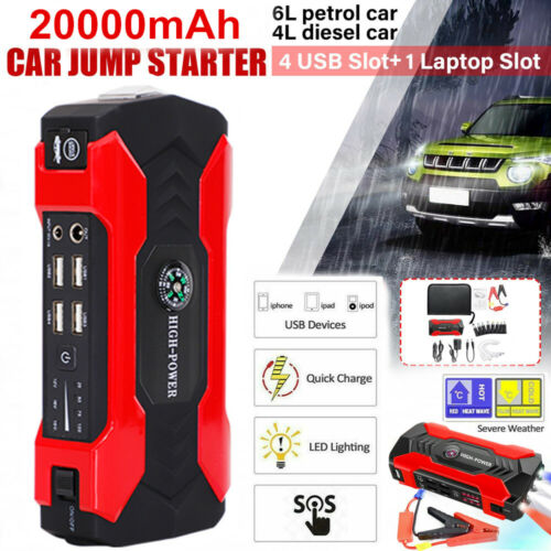 Car Jump Starter 20000mAh Portable Charger Power Bank With LED Flash Light USA Battery Chargers