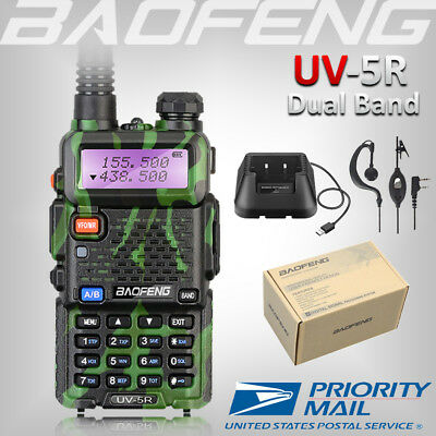 BAOFENG UV-5R Green Two Way Ham Radio Dual Band 136-174/400-520Mhz Walkie Talkie
